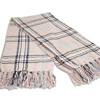 Grand Bazaar Chenille Plaid Oscar Throw in Beige Brown