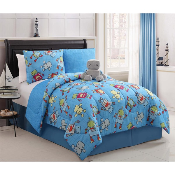 VCNY Mr. Robot Reversible 4-piece Mini Comforter Set