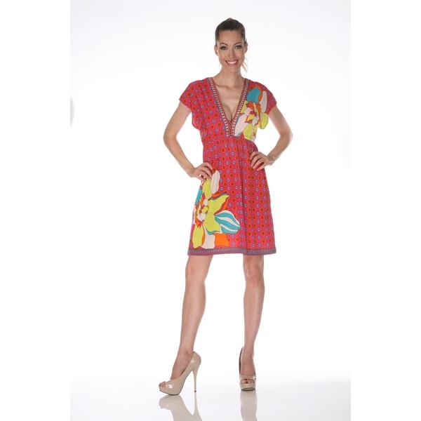 White Mark Women's 'Ibiza' Fuchsia and Yellow Printed Sleeveless Dress