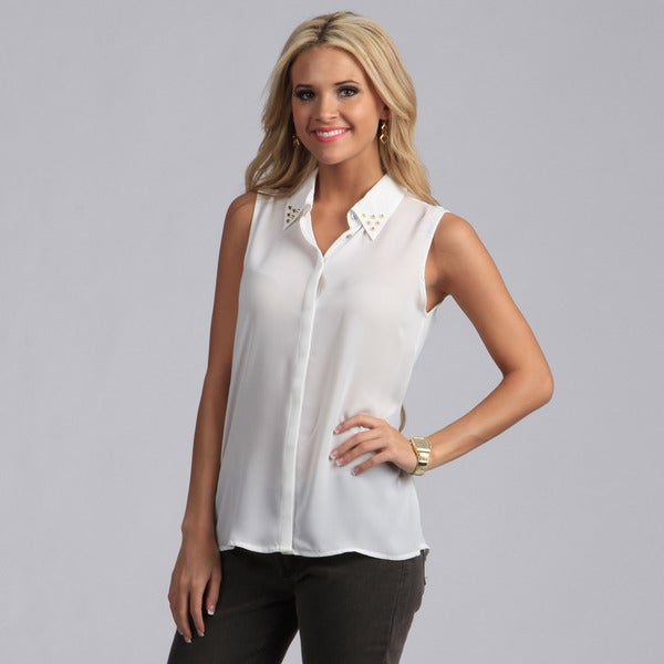Violet And Claire Women 39 S Ivory Sleeveless Studded Collar