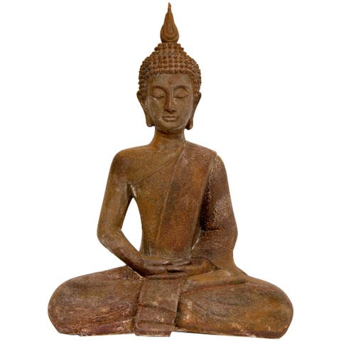 "Handmade 17"" Thai Sitting Zenjo-in Iron Look Buddha Statue - 12.50""W x 7.00""D x 17.00""H"