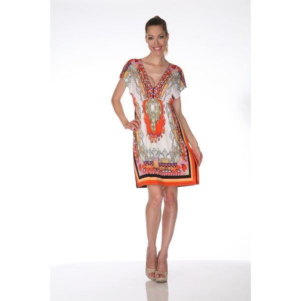 White Mark Women's 'Ibiza' Ivory and Orange Printed Sleeveless Dress