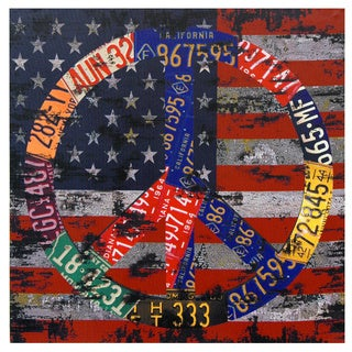 American Flag Peace Canvas Wall Art