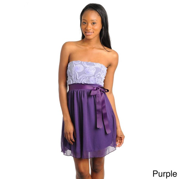 Stanzino Juniors Two-tone Strapless Mini Dress