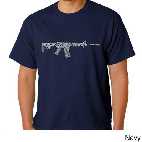 Los Angeles Pop Art Men's AR-15 Second Amendment Cotton T-Shirt