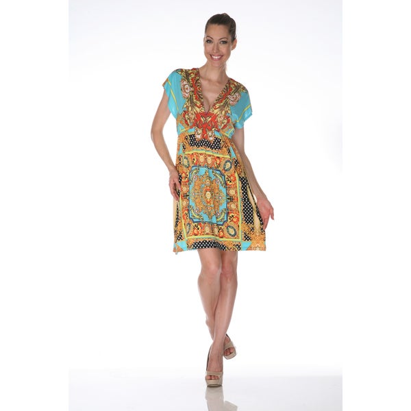 White Mark Women's 'Ibiza' Gold and Turquoise Printed Sleeveless Dress