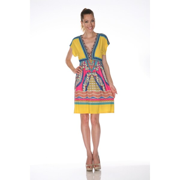 White Mark Women's 'Ibiza' Pink and Turquoise Printed Sleeveless Dress