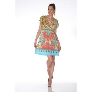White Mark Women's 'Ibiza' Yellow and Turquoise Printed Sleeveless Dress