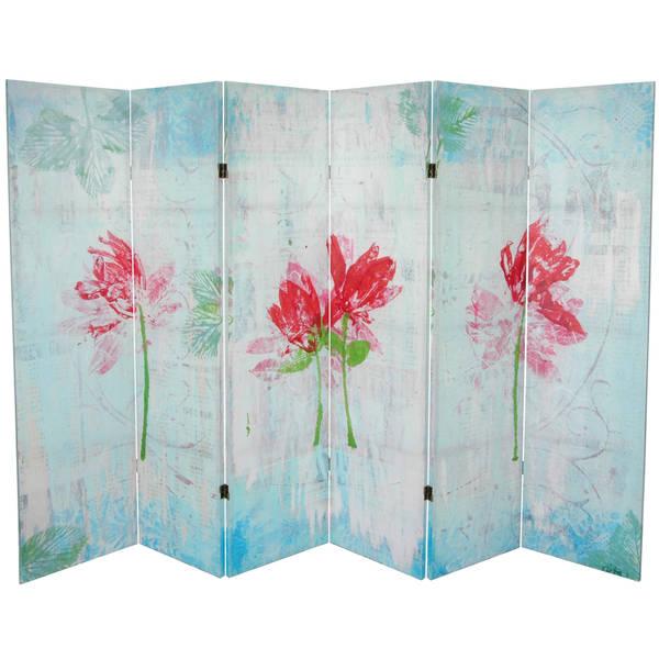 Handmade 5.25' Spring Morning Canvas Room Divider