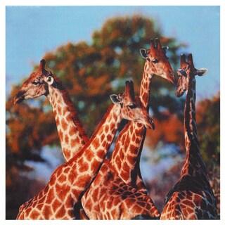 Four Prairie Giraffes Canvas Wall Art