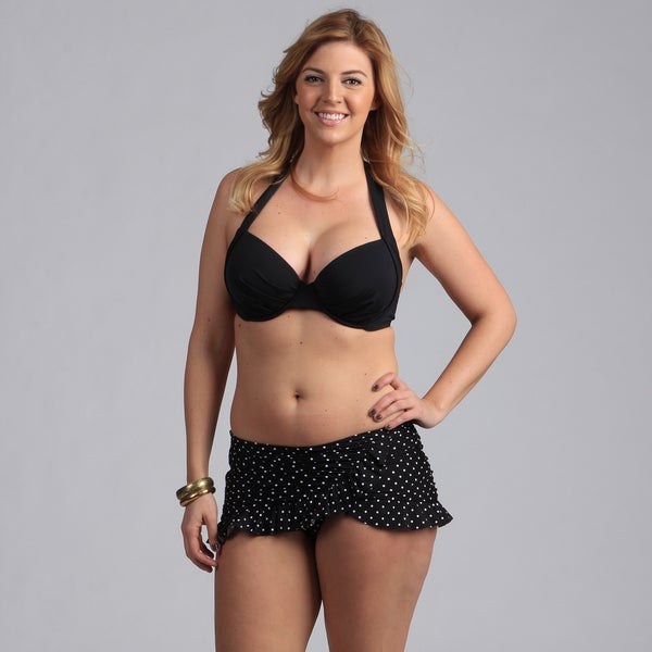 Jantzen Black Polka Dot Halter Bikini with Skirted Bottoms