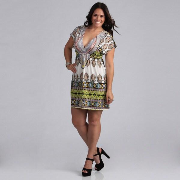 White Mark Women's Plus Size 'Ibiza' Ivory and Yellow Sleeveless Sundress