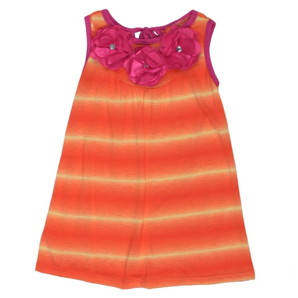 Funkyberry Girls' A-line Tie-Dye Orange Dress