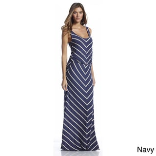 Elan Women's Striped Scoop Neck Maxi Dress