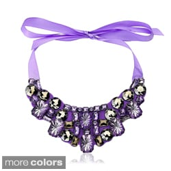 Riccova Pewter Plastic Bead Ribbon Bib Necklace