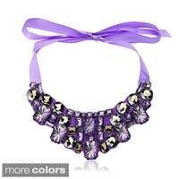 Riccova Pewter Plastic Bead Ribbon Bib Necklace