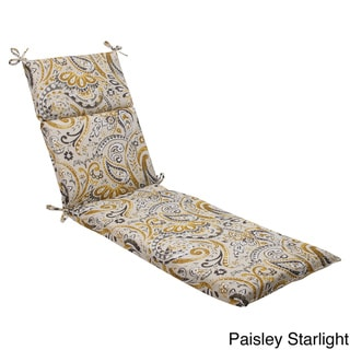 Pillow Perfect Outdoor Paisley Chaise Lounge Cushion with Ties