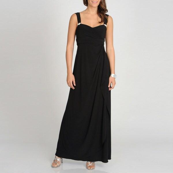 Betsy & Adam Women's Black Sleeveless Evening Gown