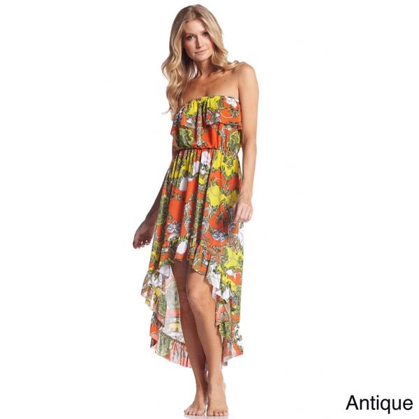 Elan Women's Printed Ruffle Hi/ Low Dress