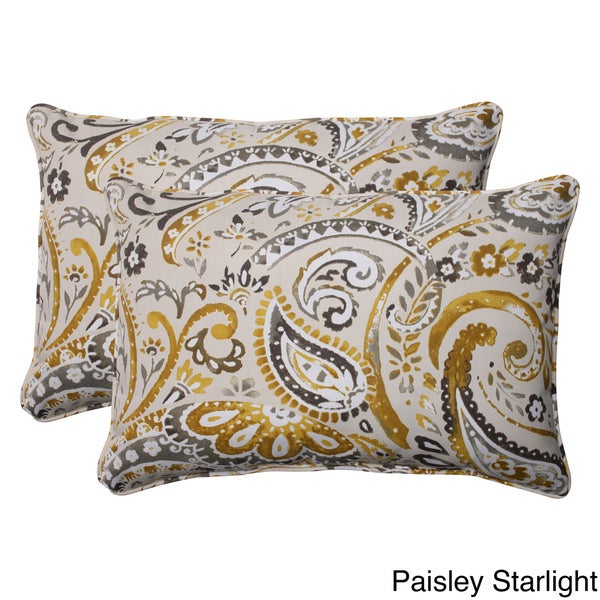 Pillow Perfect Outdoor Paisley Oversized Corded Rectangular Throw Pillows (Set of 2)