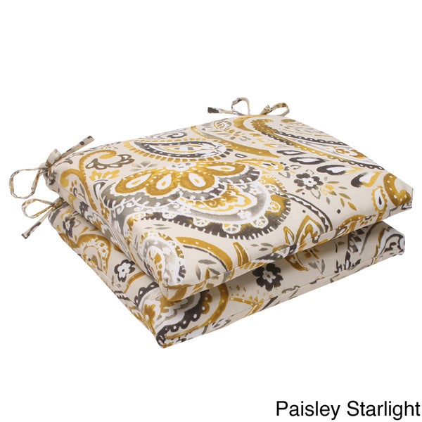 Pillow Perfect Outdoor Paisley Squared Seat Cushion (Set of 2)