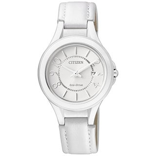 Citizen Women's Eco-Drive White Leather Strap White Dial Watch