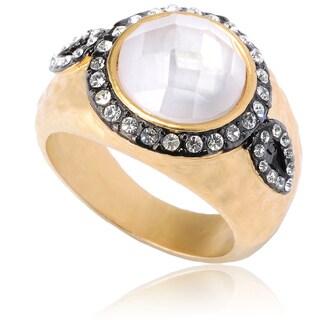 Riccova Goldtone Cubic Zirconia Satin Hammered Finish Ring
