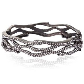 Riccova Black Rhodium Clear Cubic Zirconia Bangle Bracelet