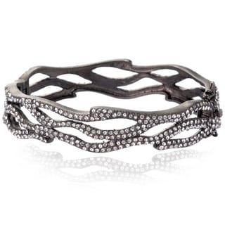 Riccova Black Rhodium Clear Cubic Zirconia Bangle Bracelet
