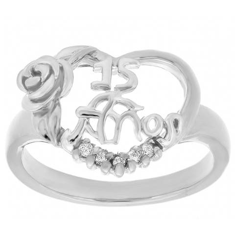 Sterling Silver Cubic Zirconia 15 Anos Floral Heart Ring