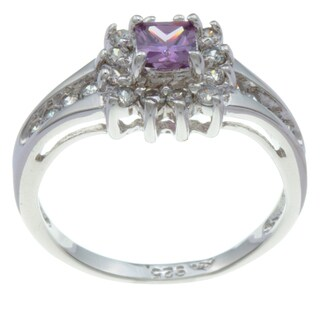 Sterling Essentials Silver Violet Princess Cubic Zirconia Ring