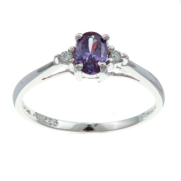 Sterling Essentials Silver Violet Oval Cubic Zirconia Ring