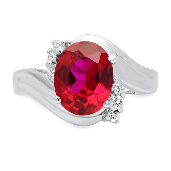 Roberto Martinez Silver Red Oval Cubic Zirconia Fashion Ring