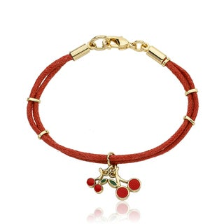 Little Miss Twin Stars Vermeil Red Nylon and Cherry Charm Bracelet