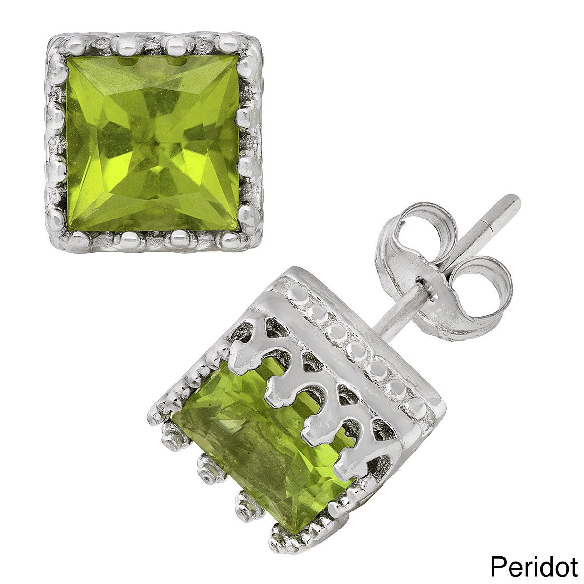 Gioelli Tiara Collection Sterling Silver 6mm Square Gemst...