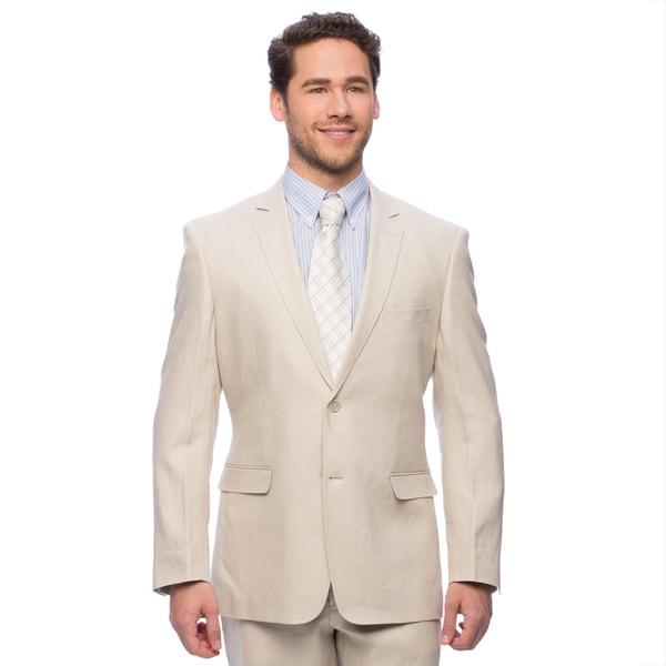 Adolfo Men's Tan Linen Suit