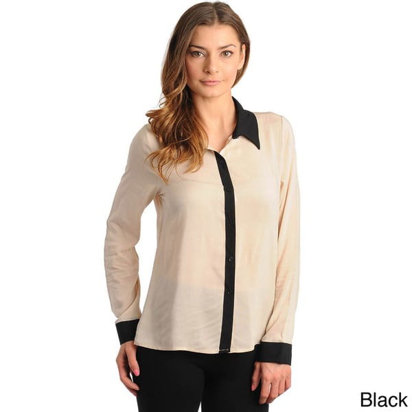 Stanzino women 39 s two tone long sleeve button down top for Women s button down shirts extra long