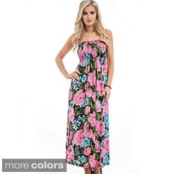 Stanzino Women's Floral Print Ruched Maxi Dress