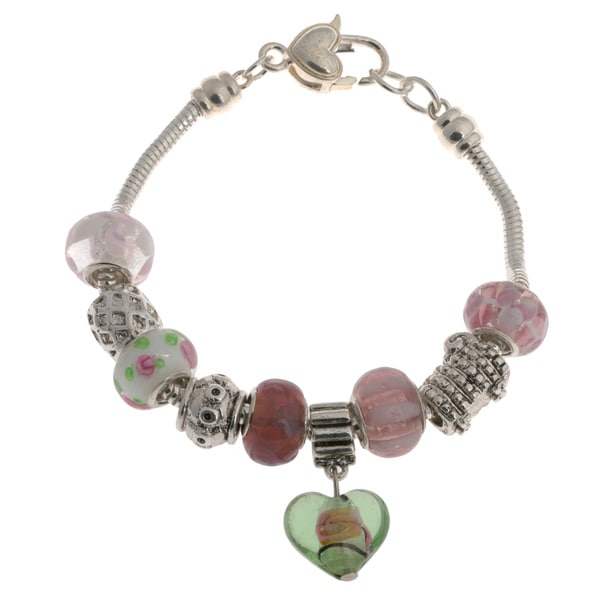 La Preciosa Silver Overlay Multi-colored Glass Bead Heart Charm Bracelet