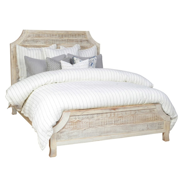 Cosmo Rustic Antique White Wood Bed by Kosas Home