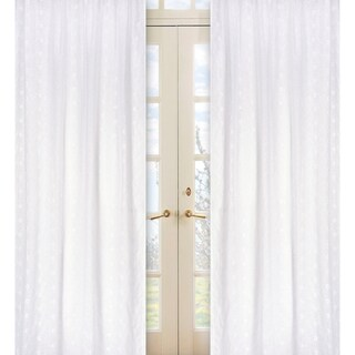 Sweet Jojo Designs White 84-inch Window Treatment Curtain Panel Pair for White Eyelet Collection - 42 x 84