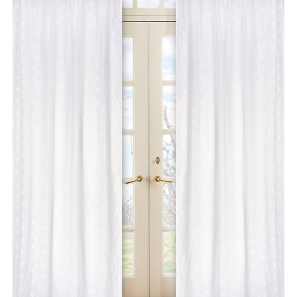 Sweet Jojo Designs White 84-inch Window Treatment Curtain Panel Pair for White Eyelet Collection