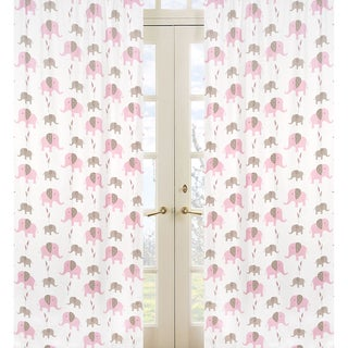 Sweet Jojo Designs Pink, Taupe and White 84-inch Window Treatment Curtain Panel Pair for Pink and Taupe Mod Elephant Collection