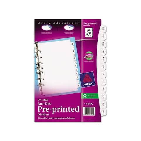 Avery White Small Preprinted Jan-Dec Dividers (Pack of 12)