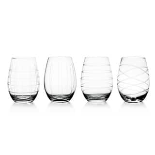 4be350edb8c Fifth Avenue Crystal Medallion Stemless Wine Glasses (Set of 4)