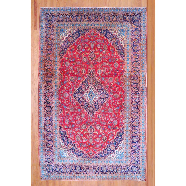 Shop Ecarpetgallery Hand Knotted Persian Kashan Red Wool: Shop Persian Hand-knotted Kashan Red/ Navy Wool Rug (8' X