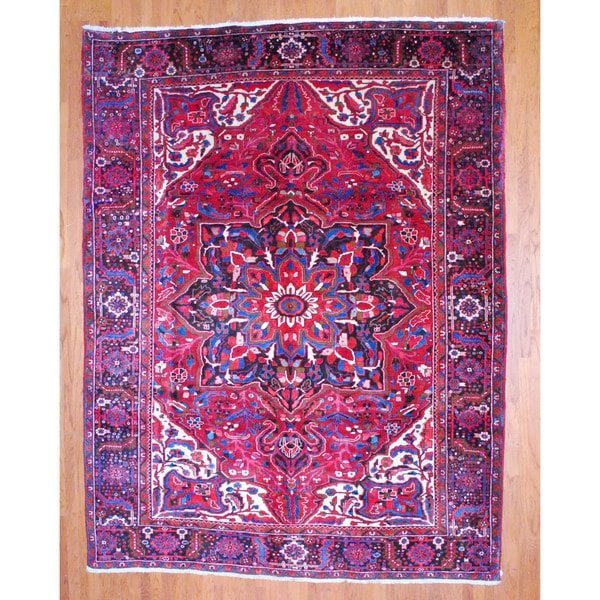 Herat Oriental Hand Tufted Wool Red Black Area Rug: Shop Herat Oriental Hand-knotted Persian Heriz Red/ Black