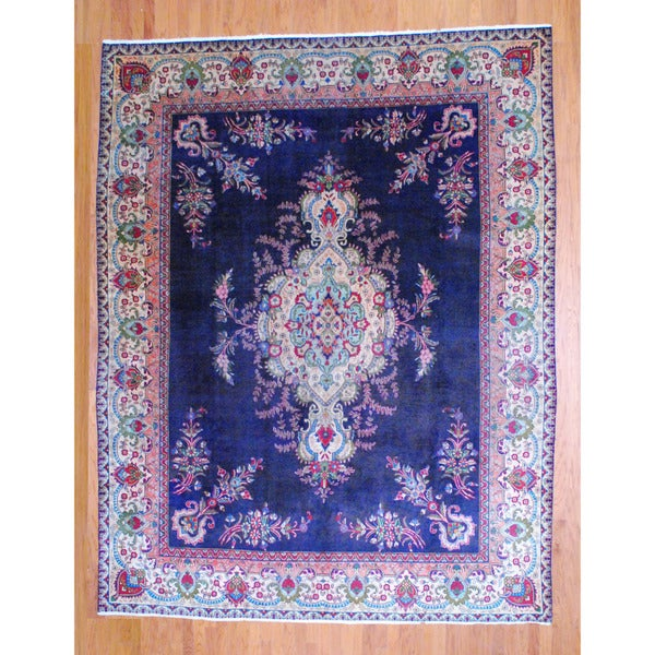 Persian Hand-knotted 1950's Tabriz Navy/ Ivory Wool Rug (9'11 x 12'8)