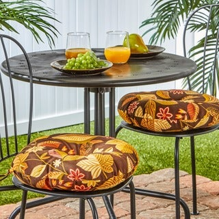 15-inch Round Outdoor Timberland Floral Bistro Chair Cushions (Set of 2)