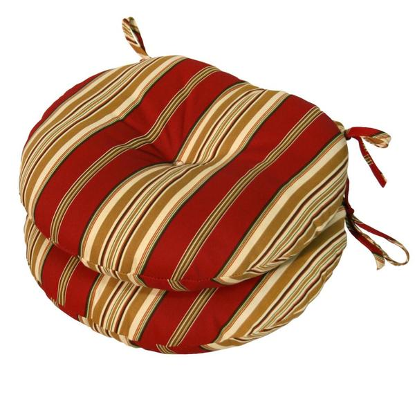 15-inch Round Outdoor Roma Stripe Bistro Chair Cushions (Set of 2) - 15246099 - Overstock.com ...